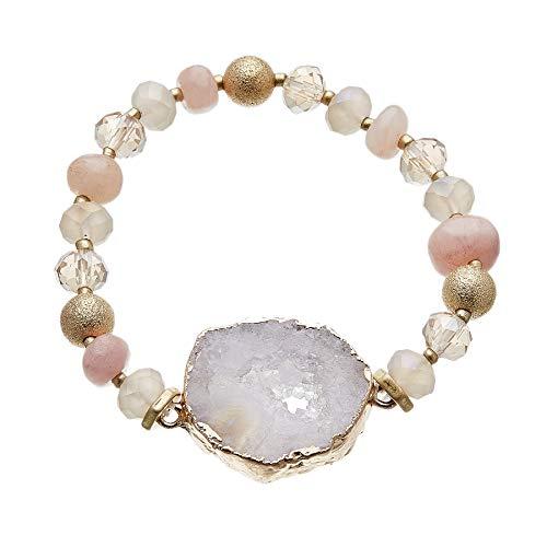 Pulsera con cuentas de ágata rosa y piedra de cuarzo druzy lila - Jae P por Bello London