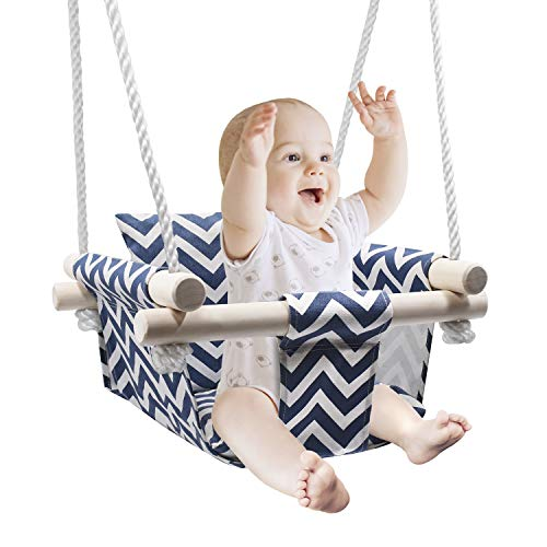 Secure Baby Hanging Swing Seat, Wooden Canvas Baby Swing with Cushion and PE Ropes, Indoor and Outdoor Baby Hammock Chair for Toddlers and Infants