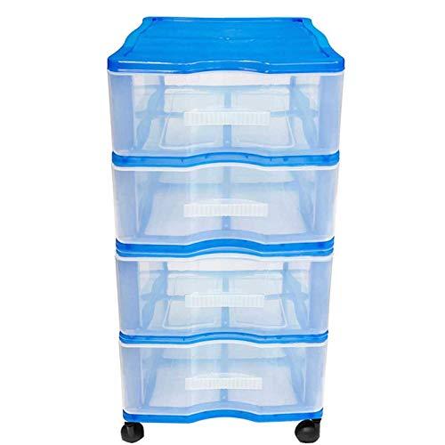 Acan Cajonera Wagon 4 cajones con Ruedas en Color Azul 64 x 38 x 39 cm