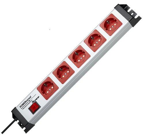Kopp 227720019 Powerversal mit Überspannungsfilter und Schalter, 5-fach, grau / rot