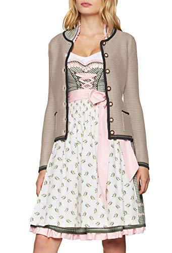 James & Nicholson Damen Ladies' Traditional Knitted Jacket Trachtenstrickjacke, Beige (Beige/Anthracite-Melange/Red), 36 (Herstellergröße: M)