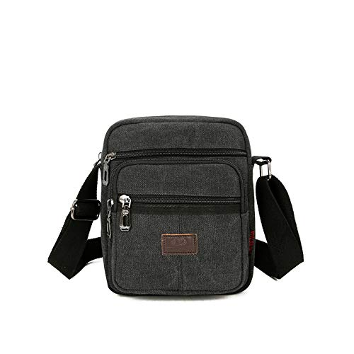 Canvas Casual Shoulder Bag Men's Messenger Sports Backpack Casual Satchel Briefcase Wallet Gray