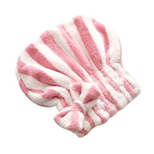 Minkissy 1 Pc Bowknot Cheveux Séchage Cap Sec Serviette Wrap Chapeau Doux Bain Cheveux Cap pour Filles Femmes (Rose)