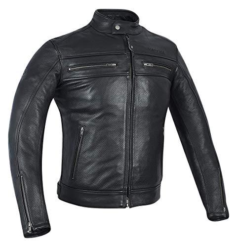 MAGOMA Harlem, Giacca in pelle A++ con protezioni da moto Uomo, Black, S