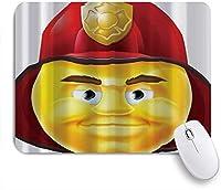 VAMIX マウスパッド 個性的 おしゃれ 柔軟 かわいい ゴム製裏面 ゲーミングマウスパッド PC ノートパソコン オフィス用 デスクマット 滑り止め 耐久性が良い おもしろいパターン (消防士の絵文字絵文字)