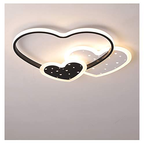LED rosa simple en forma de corazón luz de techo para niños dormitorio de niñas regulable con control remoto pantalla de acrílico creativa luz de techo para comedor delgada ultramoderna para niños