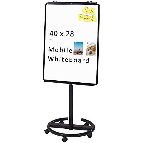 VIZ-PRO ECO Magnetic Mobile Whiteboard/Flipchart Easel, Black, 28 X 40 Inches