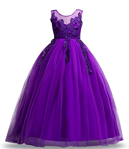 Flower Girl Dresses Bridesmaid Dresses for Girls Tank Kids American Vintage Tulle Clothing Lace Summer Sundress Formal for Party Wedding Sleeveless Long Dress Size 5 6 (Purple, 130)