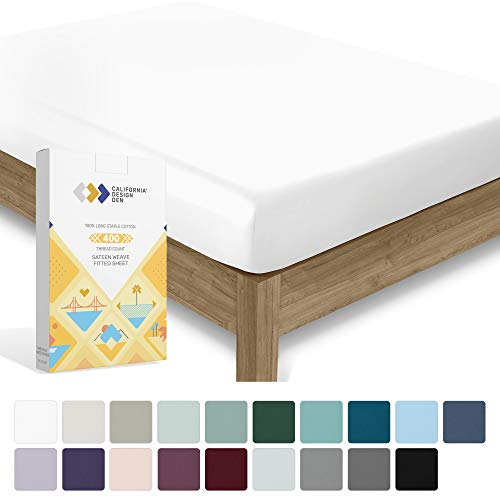 California Design Den 400 Thread Count 100% Cotton 1 Fitted Sheet Only, Pure White Queen Fitted Sheet, Long - Staple Combed Pure Natural Cotton Sheet, Soft \u0026amp; Silky Sateen Weave