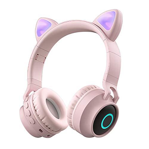 Funwaretech Cuffie per Bambini Over-Ear, Cuffie Bluetooth Wireless con Microfono, Cuffie Pieghevoli con Luce a led & Orecchio di Gatto Divertente, Mini SD TF, Radio FM, Cuffie Morbide -Rosa