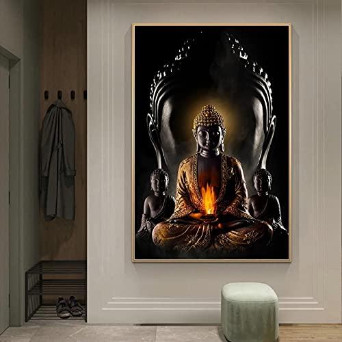 Impresiones artísticas abstractas doradas de Buda para la pared, cuadro moderno de Buda, arte mural, cuadro budismo, póster, decoración de pared, 60 x 105 cm, marco interior