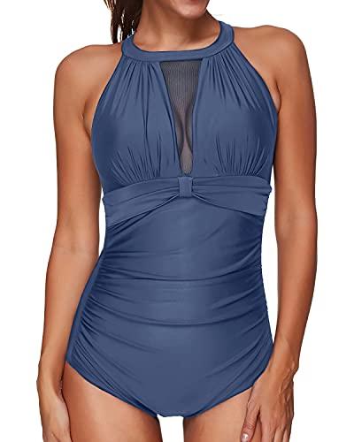 Tempt Me Women One Piece Swimsuits Grey Blue V-Neckline Mesh Ruch Swimwear M