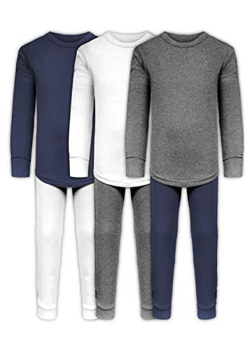 Boys Long John Ultra-Soft Cotton Sung Fit Base Layer Underwear Sets / 3 Long Sleeve Tops + 3 Long Pants - 6 Piece Mix & Match (3 Sets - White/Grey/Navy, 5/6)