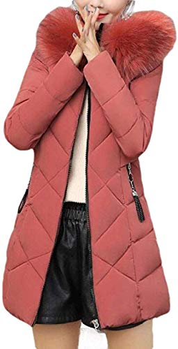 CHEXPEL Womens Winter Warm Jacket Long Faux Fur Hooded Quilted Sherpa Lined Coat