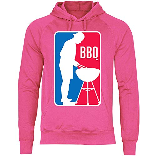wowshirt Herren Hoodie BBQ League Liga Grillen Barbecue Grill Griller Grillmeister, Größe:S, Farbe:Fuchsia
