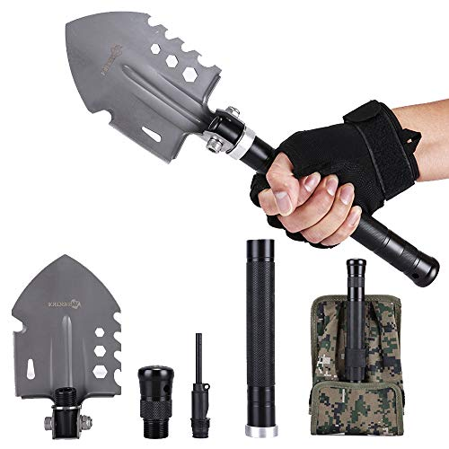 ANTARCTICA 15'' Military Portable Folding Shovel Multitool Compact Backpacking Tactical for Hunting, Camping (Silver)