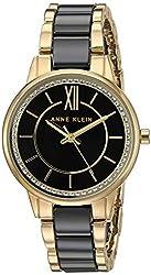 Black/Gold Swarovski Crystal Ceramic Bracelet Watch