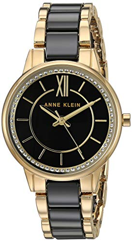 Anne Klein Women's AK/3344BKGB Swarovski Crystal Accented Gold-Tone and Black Ceramic Bracelet Watch
