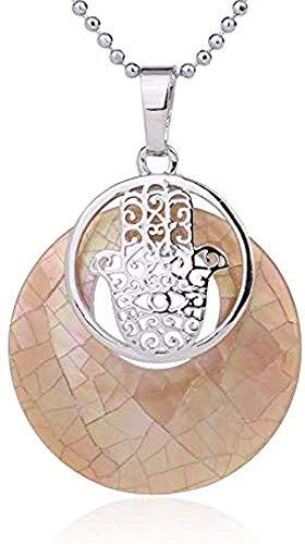 Collar Collar Concha natural Colgante circular Conchas de fregona Mano Fátima Palm Charms Colgantes Collares para mujeres Hombres Joyas Longitud del collar 45Cm Tamaño del colgante Aproximadamente 1.2