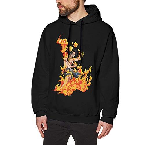 Hombres Sudadera con capucha Sudadera Casual Camisa de Manga Larga Impresión 3D Personalizada Gráfica Sudadera Deportiva Mediana BlackFire Puño Ace Logo de una Pieza