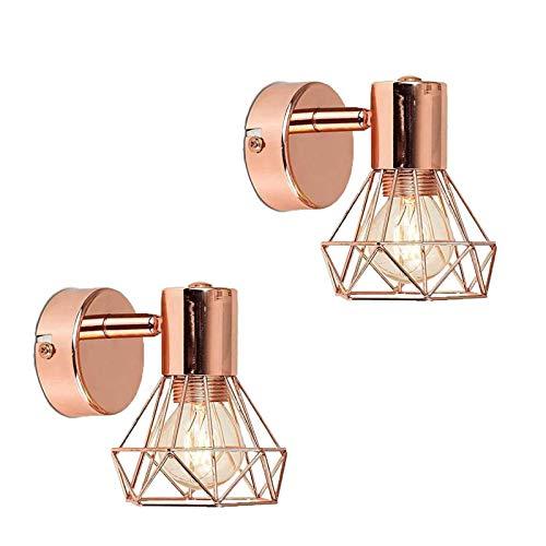 VOMI Retro LED Lámpara de pared de metal canasta Apliques de Pared oro rosa acabado cobre pulido Pasillos completos Escaleras Dormitorio Luz de Pared Decoración de diamantes Lámpara de pared, 2 Pack