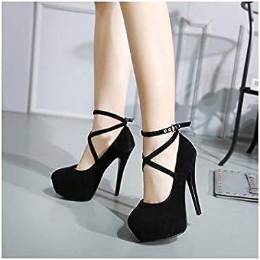 Ultra High Heel Stiletto Shoes XL Fashion Cross Strap Waterproof Platform Women's Single Product Trend