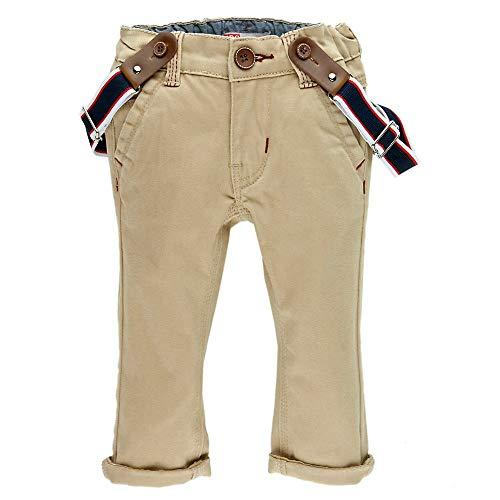 Feetje Pantalon en coton sergé classique avec bretelles pour bébé garçon - Beige - 6 mois