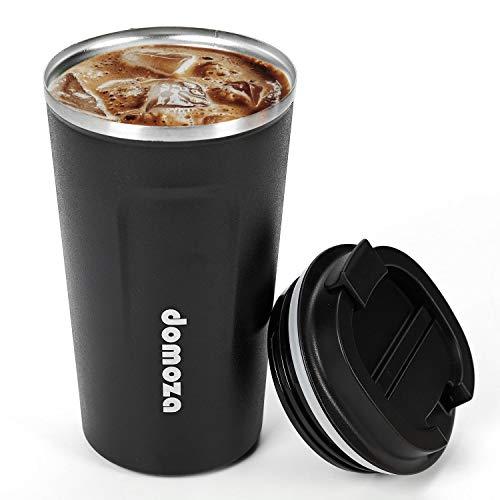 domoza コーヒーカップ 蓋付き ステンレス製 タンブラー 断熱 保温 ブラック 380