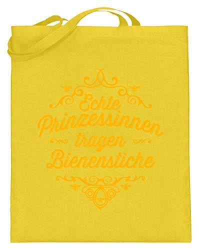 shirt-o-magic Imkerin: Prinzessin trägt Bienenstich - Jutebeutel (mit langen Henkeln) -38cm-42cm-Gelb