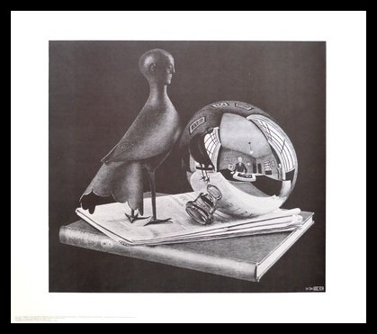 Germanposters MC Escher Poster Kunstdruck Bild Stilleben mit Kugel im Alu Rahmen in schwarz 61x71cm