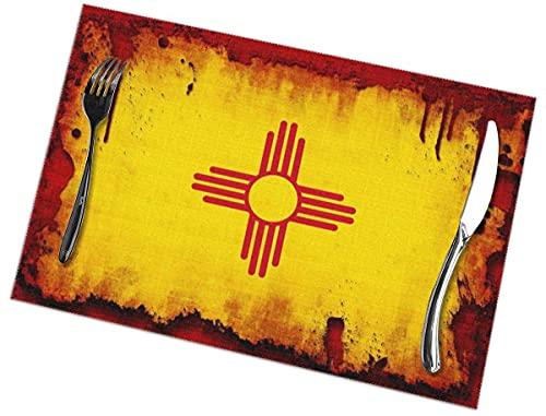 New Mexico Flag Esstisch Tischset im Grunge-Stil Set mit 6 hitzebeständigen Polyester-rutschfesten Küchentischmatten aus Polyester abwischbar