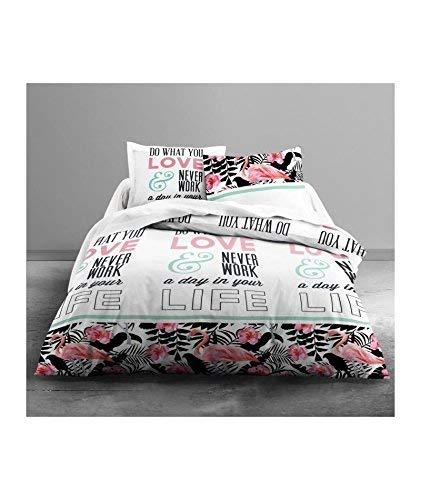 TODAY Enjoy Love Flamingo-Parure HC3 : Housse de Couette Flamant 220x240 + 2 Taies d'Oreiller 100% Coton, (57 Fils), Blanc/Noir/Rose, 220x240 cm