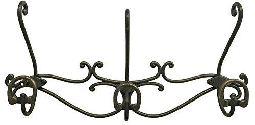 Headbourne 16-Inch Over The Door Metal RailCoat Rack with 3 Double Hooks and Antique Bronze Finish