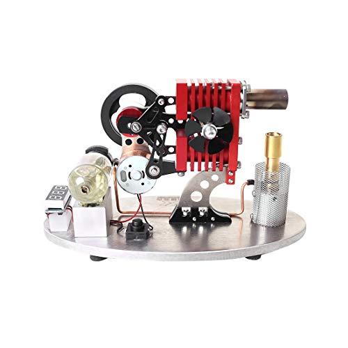 SICI Stirlingmotor Modell Bausatz mit Generator, Doppelzylinder Sterling Motor STEM Pädagogisches Spielzeug für Erwachsene und Kinder