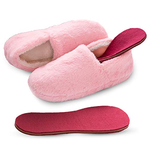 Microwavable Heated Slippers Feet Warmers Booties with Heated Insole Inserts for Instantly Warm Feet - Reusable Reheatable Washable - Promotes Good Night's Sleep – Low Cut, Pink Size 8