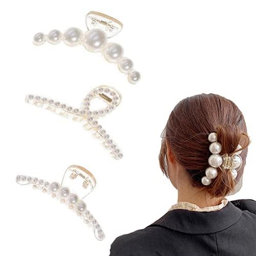 3 Stück Perlen Haarspangen Damen Haarnadeln Strass Federn Haarklammern Gold Mode Vintage Haar Pins Spangen Clips Haarclips Hochzeit Haarschmuck Set für Frauen Braut Mädchen