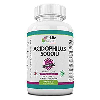 Acidophilus Probiotic Digestive Health Supplement By Fit Life Health - 500million CFU - Friendly Bacteria - Balances Intestinal Flora And Promotes Good Digestion - Helps With Bloating And Stomach Disorder - Two Month Supply - Take One A Day To Improve You