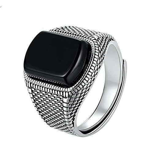 Anillo, Piedra Negra Real 925 Sterling Silver Tamaño Abierto, Boda de La Vendimia Mujeres para Hombre Cubic Zirconia Onyx Jewelry