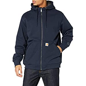 Carhartt Men's Rain Defender Rockland Sherpa Lined Hooded Sweatshirt, New Navy, X-Large