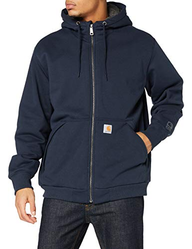 Carhartt Mens Sherpa-Lined Midweight Full-Zip Sweatshirt, New Navy, M
