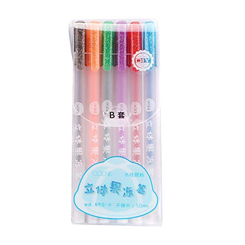 Gelentea 6/12Pcs 3D Glossy Jelly Ink Pen Waterproof Fade-proof Rollerball Pens for DIY Album Card Scrapbooks Writing Drawing
