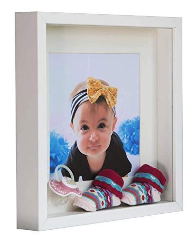 BD Art 28 x 28 cm Box 3D Bilderrahmen mit Passepartout 20 x 20 cm, Weiß