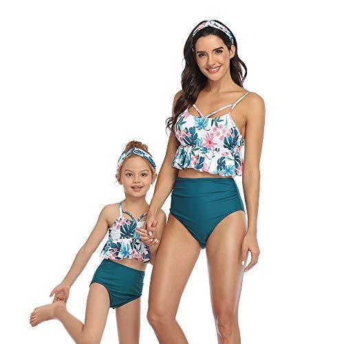 GGXX Trajes de baño de Dos Piezas para Mujer, Bikini de Cintura Alta con Volantes, Traje de baño con Cuello Halter, Traje de baño para Madre e Hija, Bikini para niños y Adultos