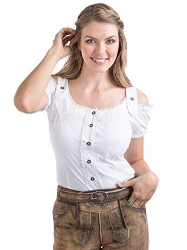 Schöneberger Trachten Couture Trachtenbluse Alpenklee - Elegante, Karierte Bluse im Carmenstil mit Stickereien - tailliert & verstellbar (36, Weiss)