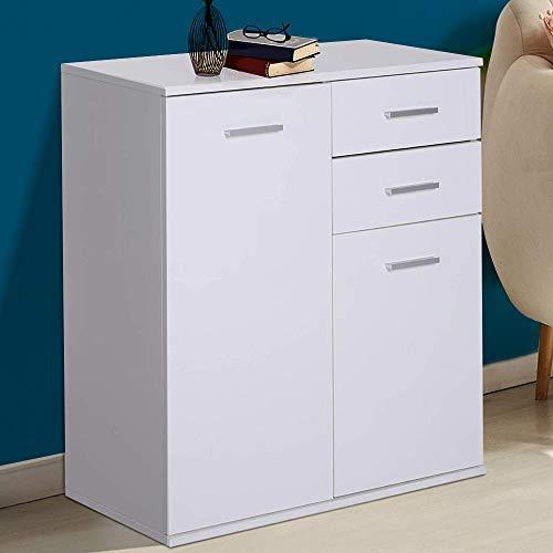 BAKAJI Mobile Madia con 2 Cassetti Doppia Anta e 2 Ripiani Interni Mobiletto Credenza Armadio Multiuso Cucina Bagno Ufficio Design Moderno in Legno MDF Bianco Dimensione 71 x 35 x 76 cm