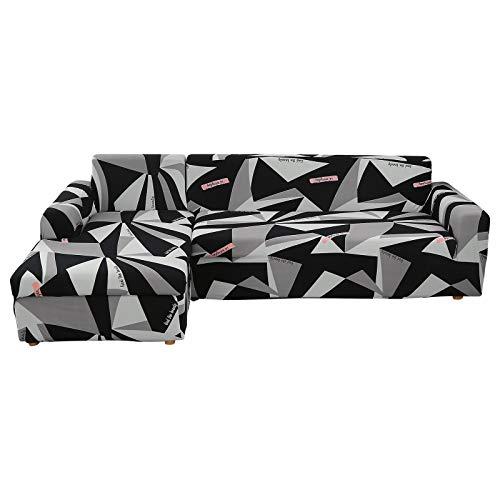 IVYSHION Fundas de Sofá Chaise Longues Elásticas,Cubre Sofá Chaise Longues Universal Antideslizante,Fácil de Instalar y Lavables, Fundas para Sofá en Forma de L 2 Piezas Negro&Gris,1 Plaza+2 Plazas