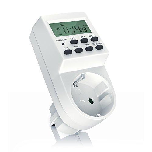 Digitale Zeitschaltuhr mit LCD-Display - 3680W - Weekly Digital Timer 20 Programme - Zufallsschaltung Countdown - 12 24h Modus - Berührungsschutz - Back-Up