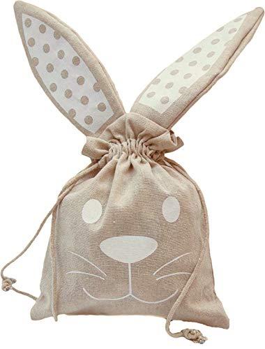 Partay Shenanigans Easter Bunny Tote - 3 Pack Easter Basket Bunny Favor Bag Treat Bag 8' x 10'- DIY Easter Basket Canvas Bunny Drawstring Totes for Easter Eggs Hunt (Medium)