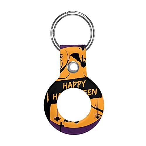 Funda de cuero para Apple Airtag Tracke Keychain, Halloween Bat compatible con el buscador de etiquetas de aire