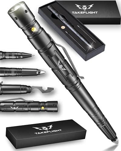 TAKEFLIGHT Tactical Pen Survival Gear – Aircraft-Grade Aluminum LED Tactical Flashlight Multi Tool – Rugged, Lightweight EDC Pen Survival Tool – Glass Breaker, Bottle Opener, Screwdriver, Gift Boxed